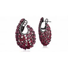 Swan Ruby Diamond Earring 18K Black Gold