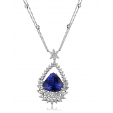 Tinollen Tanzanite Diamond Necklace 18K White Gold