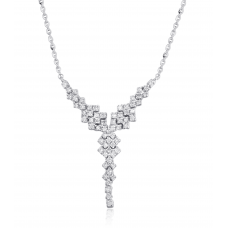 Y-Style Diamond Necklace 18K White Gold