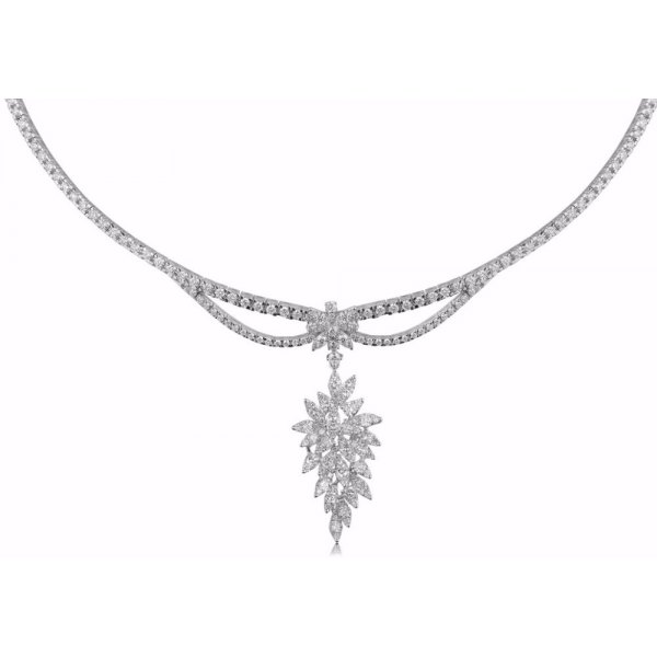 Ornate Diamond Choker Necklace 18K White Gold