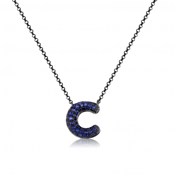 C-Style Pave Sapphire Necklace 18K Black Gold
