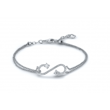 Curvy Diamond Bracelet 18K White Gold