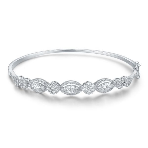 Lanzo Cluster Diamond Bangle 18K White Gold