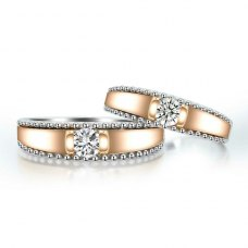 Rummer Diamond Wedding Ring 18K White and Rose Gold(Pair)