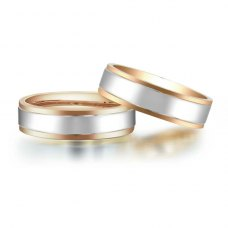 Ellis Wedding Ring 18K White and Rose Gold(Pair)
