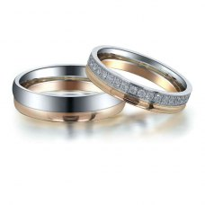 Ranzen Diamond Wedding Ring in 18K White & Rose Gold(Pair)
