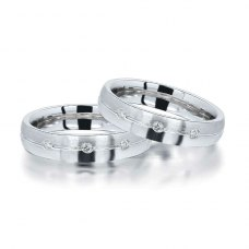 Dol'en Diamond Wedding Ring in 18K White Gold(Pair)