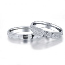 Dokki Diamond Wedding Ring 18K White Gold(Pair)
