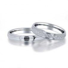 Dokki Diamond Wedding Ring 18K White Gold(Pair)