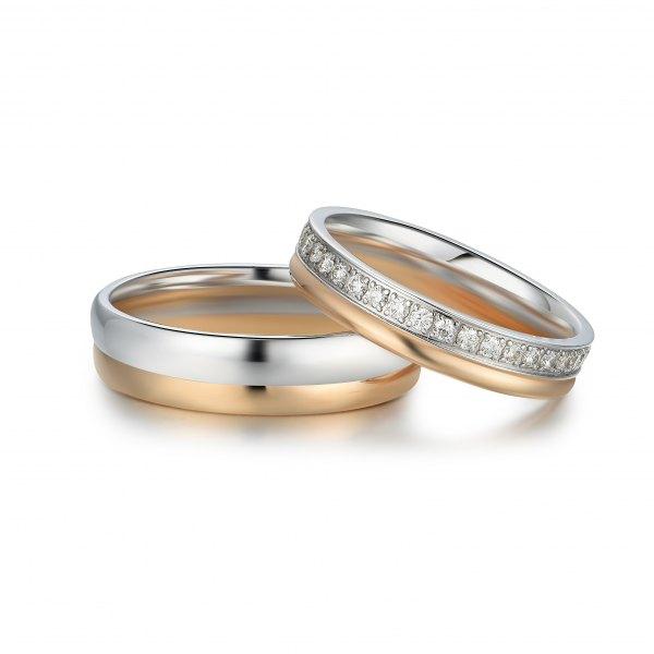 Korun Diamond Wedding Ring 18K White and Rose Gold(Pair)