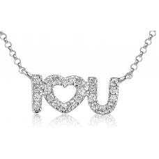 Lovey Diamond Necklace 18K White Gold