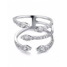 Talon Channel Diamond Ring 18K White Gold