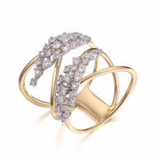 Leafy Diamond Ring 18K White and Rose Gold