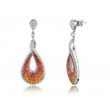 Keira Orange Sapphire Diamond Earring 18K White Gold