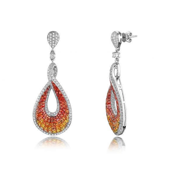 Keira Orange Sapphire Diamond Earring 18K White Gold