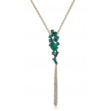 Ascii Emerald Diamond Pendant 18K Yellow Gold