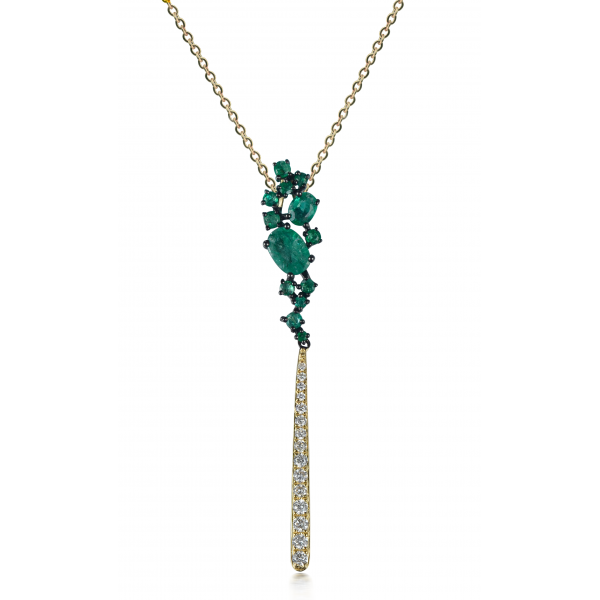 Ascii Emerald Diamond Pendant 18K Yellow Gold