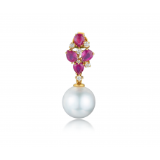 Bolt Pearl Ruby Diamond Earring 18K Yellow Gold