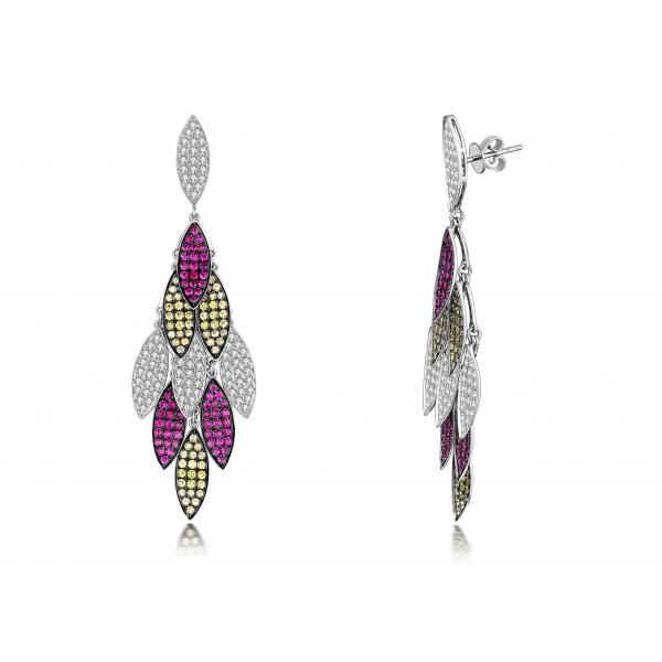 Sawyer Yellow Sapphire Ruby Diamond Earring 18K Black and White Gold