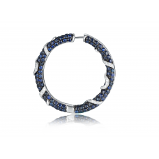 Murray Blue Sapphire Diamond Earring 18K Black Gold