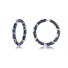 Murray Blue Sapphire Diamond Earring 18K Black Gold