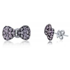 Cosette Pink Sapphire Diamond Earring 18K Black Gold