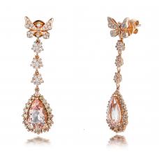 Blaire Morganite Diamond Earring 18K Rose Gold