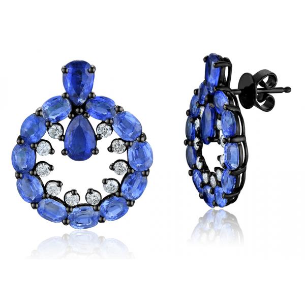Serly Kyanite Diamond Earring 18K Black Gold