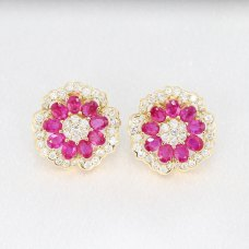 Bicony Ruby Diamond Earring 18K Yellow Gold