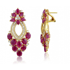 Caillie Ruby Diamond Earring 18K Yellow Gold