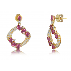 Cecily Ruby Diamond Earring 18K Yellow Gold