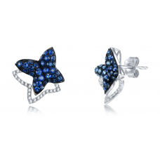 Coco Blue Sapphire Diamond Earring 18K White Gold
