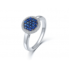 Maury Blue Sapphire Diamond Ring 18K White Gold