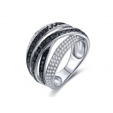 Gobie Black Diamond Ring 18K White Gold