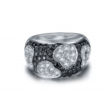 Hama Black Diamond Ring 18K White and Black Gold