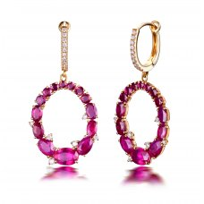 Ovale Glass Filled Ruby Diamond Earring 18K Yellow Gold