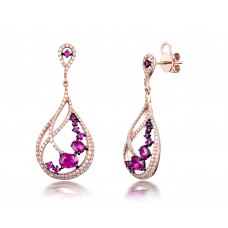 Brama Ruby Diamond Earring 18K Rose Gold