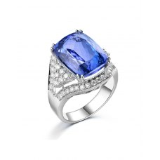 Janine Tanzanite Diamond Ring 18K White Gold