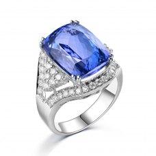 Janine Tanzanite Diamond Ring 18K White Gold