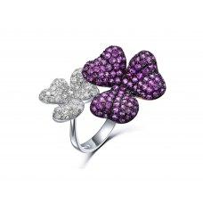 Flor Gemela Pink Sapphire Diamond Ring 18K White Gold