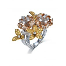 Trincia Sapphire Diamond Ring 18K White, Yellow and Rose Gold