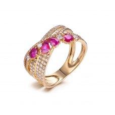 lluvia Blue Sapphire Diamond Ring 18K White Gold