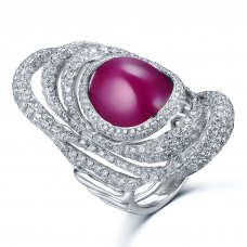 Pimere Glass Filled Ruby Diamond Ring 18K White Gold