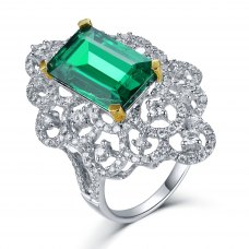 Imora Emerald Diamond Ring 18K White and Yellow Gold