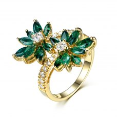 Losrie Emerald Diamond Ring 18K Yellow Gold