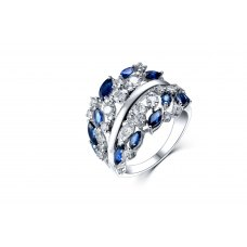Jaquene Sapphire Diamond Ring 18K White Gold
