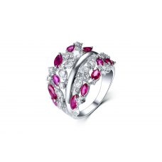 Rallia Ruby Diamond Ring 18K White Gold