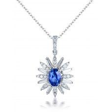 Eroe Blue Sapphire Diamond Pendant 18K White Gold