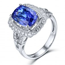 Osian Tanzanite Diamond Ring 18K White Gold