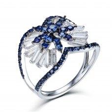 Poderoso Blue Sapphire Diamond Ring 18K White and Black Gold